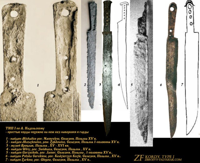 Тип I: простые корды похожие на нож без навершия и гарды