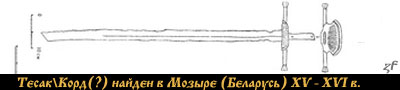 Корд (тесак) найден в Мозыре (Беларусь) XV - XVI в.