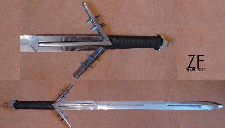 Серебряный Меч Ведьмака - тип Б, полная версия, стальной клинок из 65г стали и закалкой лезвия