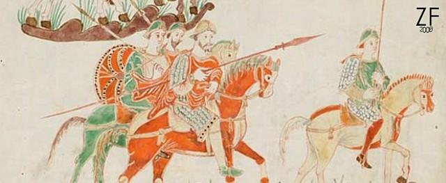 """Сенкт-Галленский """"Codex Aureus"""" ( """"Золотая Псалтырь""""), времен Карла Великого. Четко изоброжены круглые щиты с умбоном и радиальными металлическими поласами окантовки"""