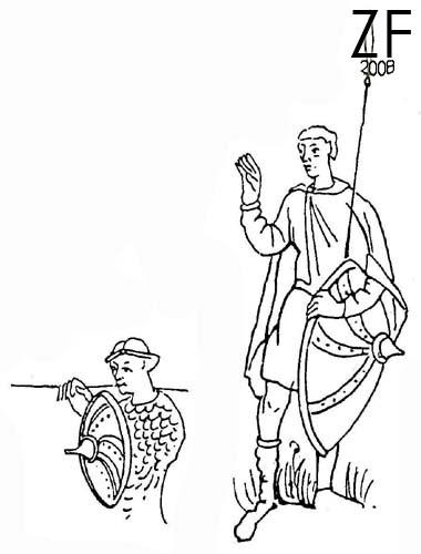 """Сенкт-Галленский """"Codex Aureus"""" ( """"Золотая Псалтырь"""") прорисовка круглого щита из монографии Вендалена Бехайма «Энциклопедия оружия»"""