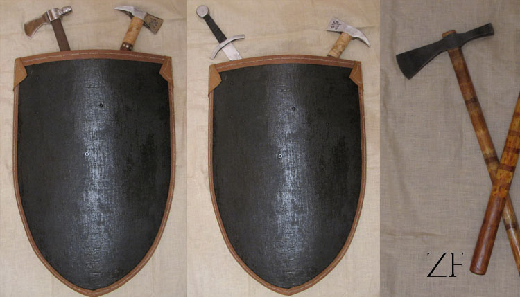 Элементы интерьера в средневековом стиле: щиты, топоры и мечи