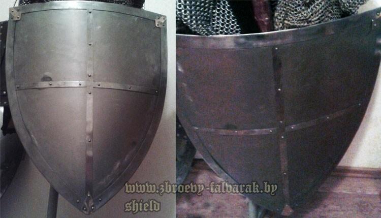 """Изготовление: стальной щит """"тарч"""" с разделением на четыре поля (геральдический щит (английский)), под нанесение геральдического рисунка"""