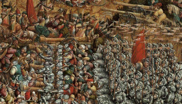 Артиллерийские позиции ВКЛ и Короны Польской во время сражения под Оршей, 1514 года Картина написано примерно в 1530 году, неизвестным художником