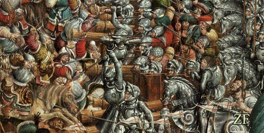 Оршанская битва, 1514 года. Пехота находившееся в засаде вместе с артиллерией использует пехотную павезу для обороны своих позиций