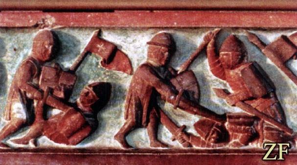 Эпизод сражения между войнами ВКЛ и Тевтонского ордена. У тевтонцев, щит - тарч (Экю), у ВКЛ - тарч (Павеза)
