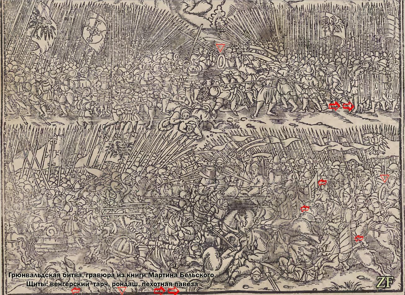 Грюнвальдская битва, 1410 год, изображение из работы Мартина Бельского, в редакции 1564 года, с указанием видов щитов