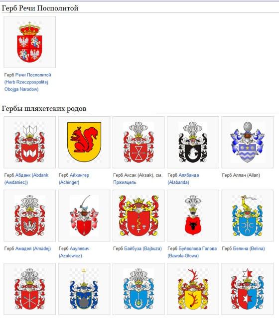 Форма геральдических щитов на гербах шляхетских родов