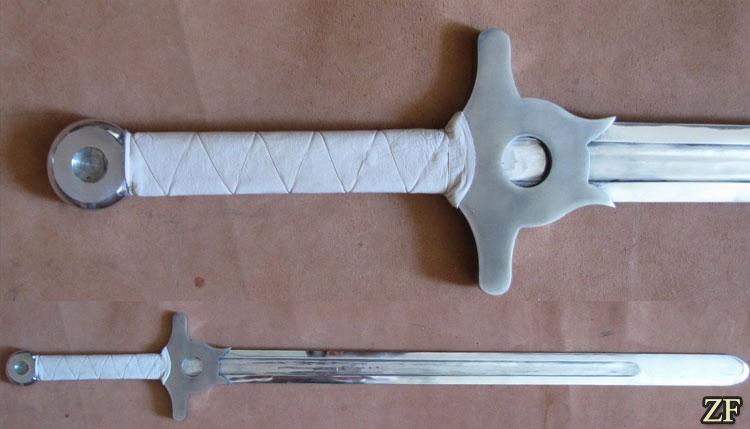 Меч Кладенец, фантазия автора меча, клинок из дюраль, сложная гарда и широкий дол