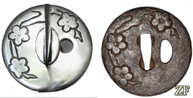 Цуба катаны оригинал и стилизация (техника Камакура-бори)