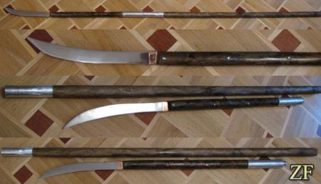 Нагината - японская форма глефы, изготовление, сталь 65г, разборное древко