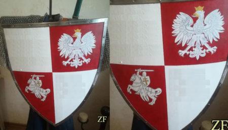 Щит тарч герб ВКЛ Погоня и орлом Короны Польской