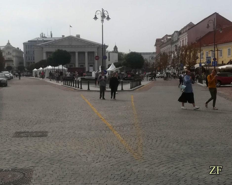 Начало Замковой улице, в далеке городская Ратуша Вильнюса