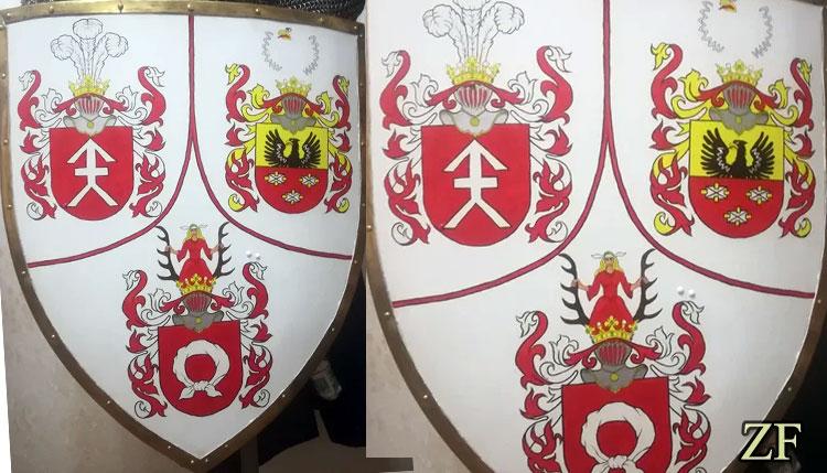 Щит тарч с гербами Косцеша (Kosciesza), Сулима(Sulima) и Налеч (Nałęcz)