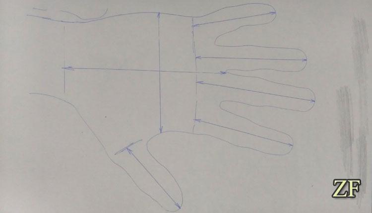 Необходимые размеры для изготовления латных рукавиц, типа песочные часы